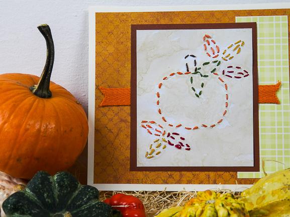 Tutorial - Embroidered Pumpkin Card