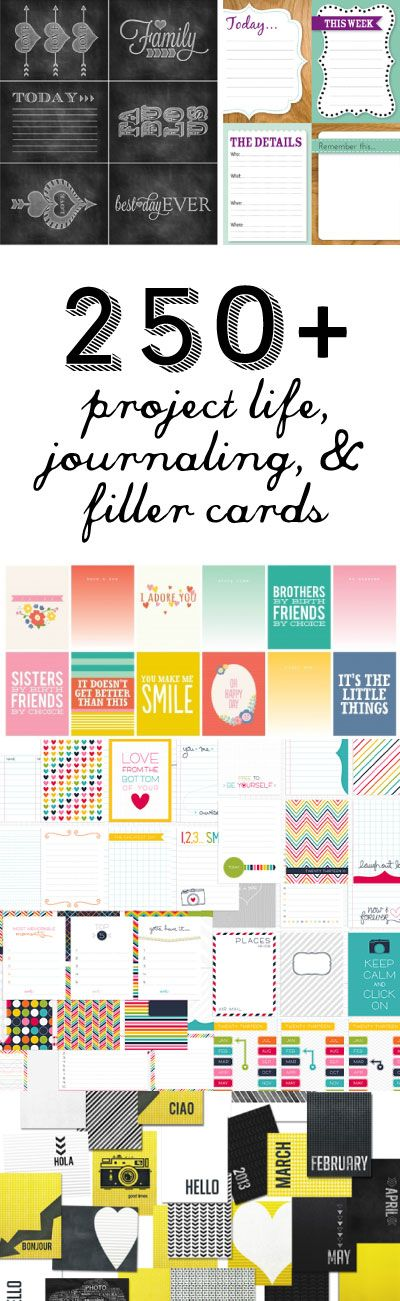 250 Free Project Life Journal Cards from Fab n Free