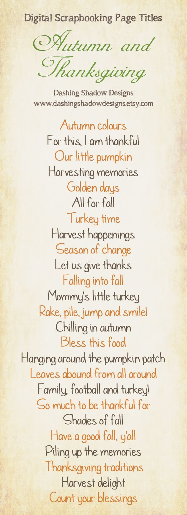 Fall and Thanksgiving Scrapbook Page Titles