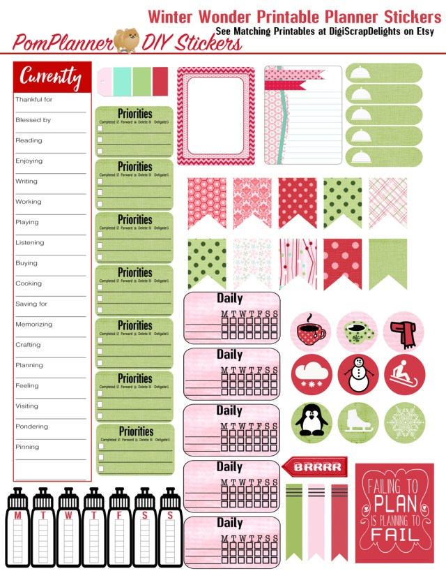 Free Planner Stickers for Winter – Scrap Booking