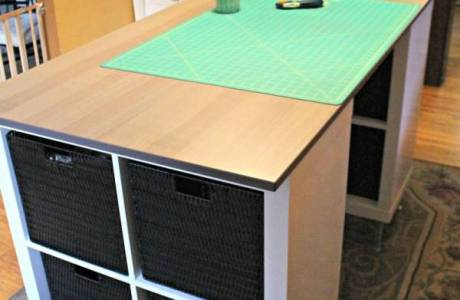 Diy craft closet makeover scrap booking for Counter height craft table with storage