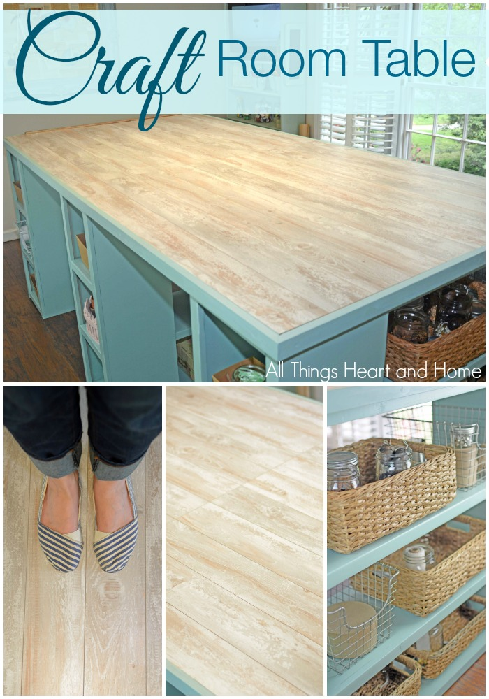 Diy Craft Room Table With Laminate Flooring Scrap Booking - Diy Table Using Flooring