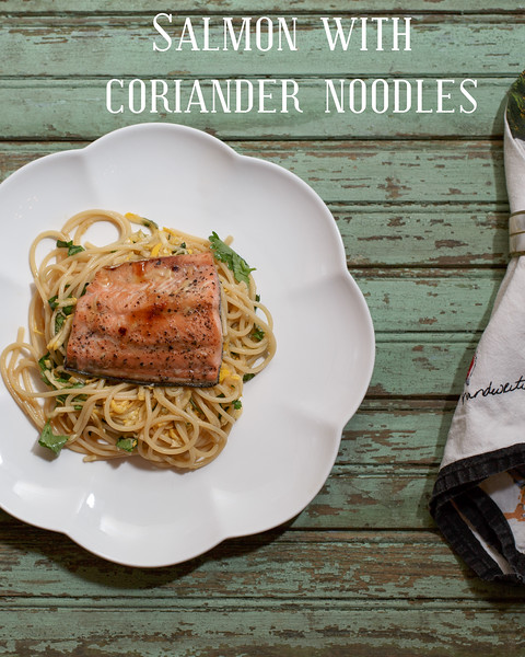 Honey-Seared Salmon with Coriander Noodles  #salmon #pasta