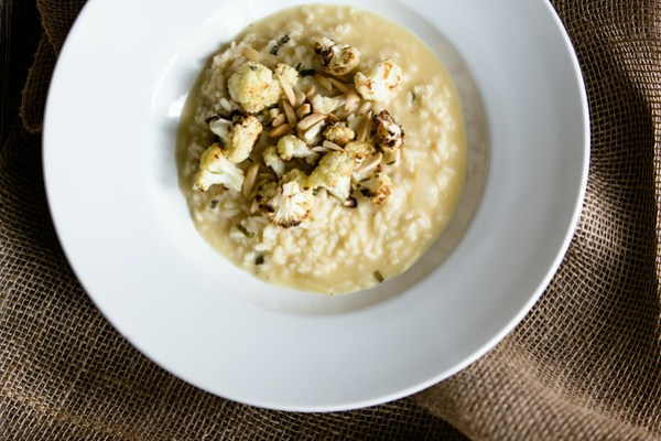 Roasted Cauliflower, Sage, and Almond Risotto | Sidewalk Shoes
