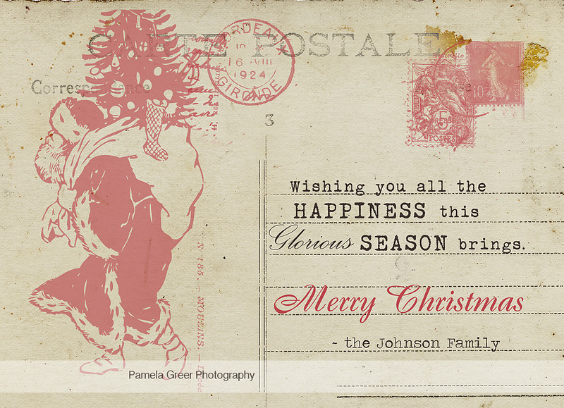 Christmas Card Templates ~Vintage Postcard Style - Pamela Greer - template for christmas