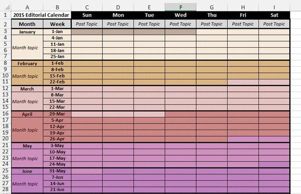 Social media content calendar template 2015, social media