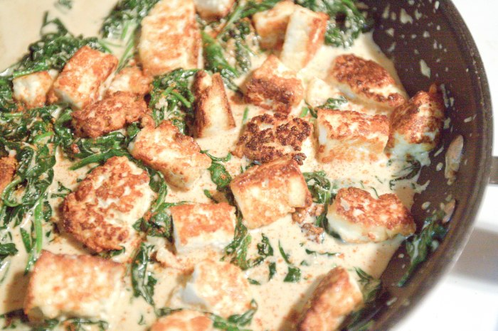 Homemade Paneer for the classic Indian Spinach dish: Saag Paneer!