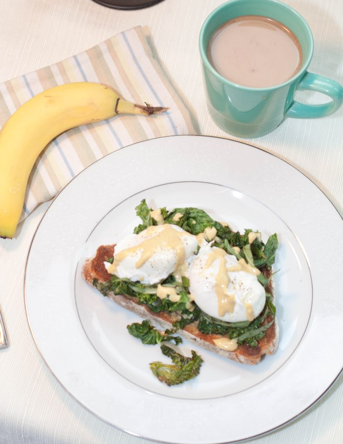 Garlic Basil Kale Poached Eggs Toast with Tahini Lemon Dressing