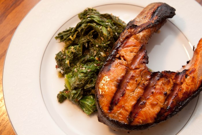 Maple Soy Glazed Salmon and Mustard Greens