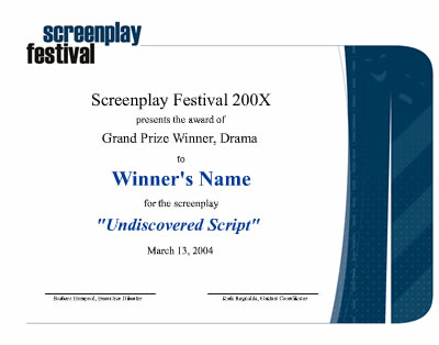 prizes SCREENPLAY FESTIVAL