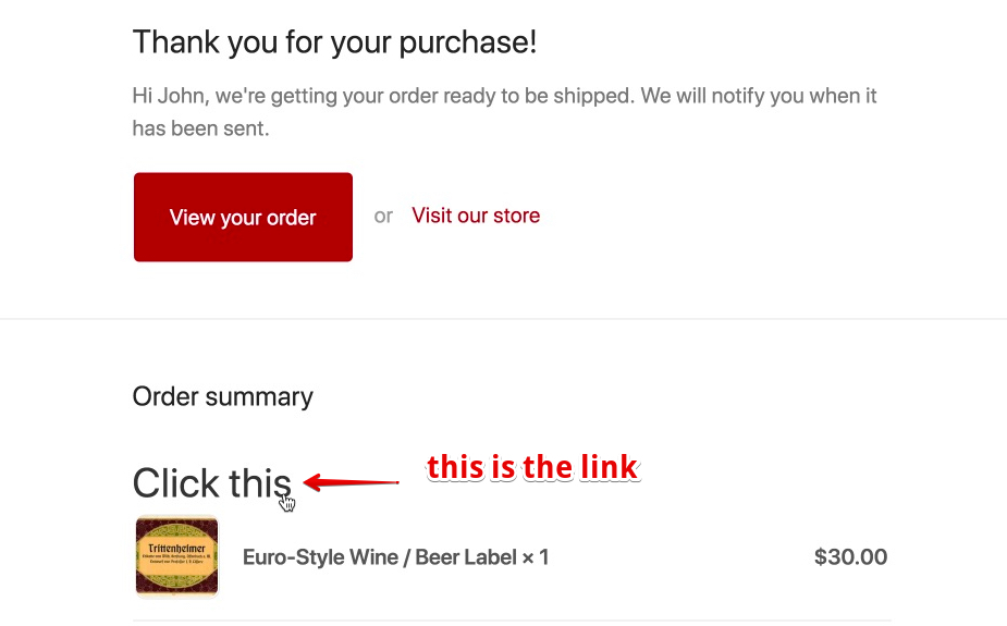 How do I add a link to my Order Notification email - Shopify