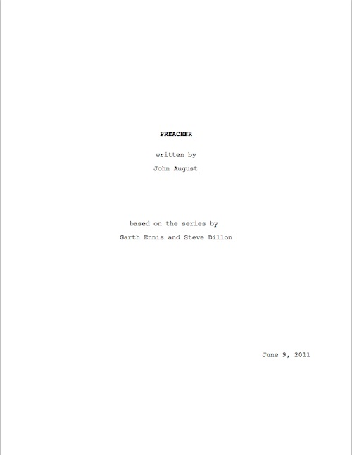 Title pages include the title, writer\u0027s name, and based on