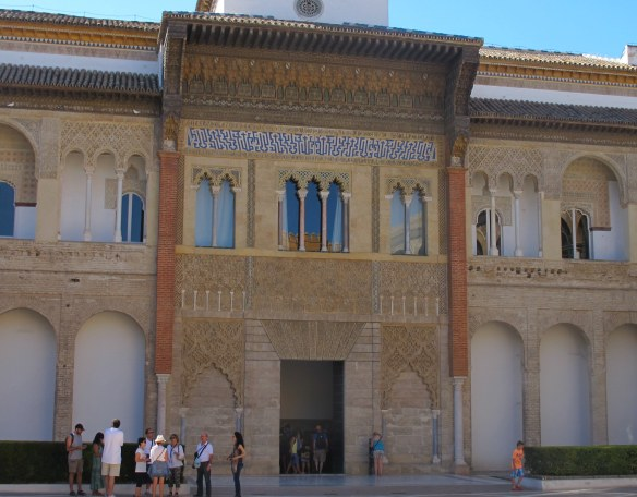 The façade of the Palace of King Pedro, with a mix of architectural styles which inspired the Comares palace of the Alhambra.