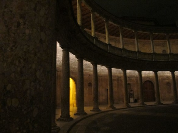 The circular interior of Charles V's palace. He was the first Holy Roman emperor and liked to make a statement.