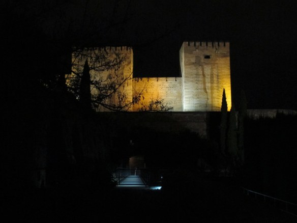 A view of the Alcazaba, the fortress, from the entrance to the Nasrid palace.