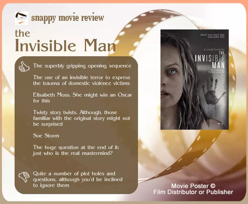 The Invisible Man Movie Review: 6 thumbs-up and 1 thumbs-down.