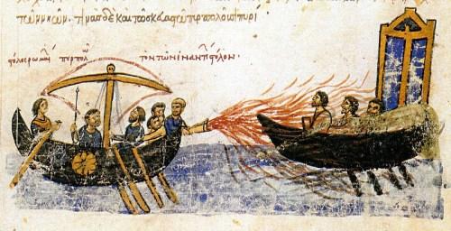 800px Greekfire madridskylitzes1 500x256 [Appel de Cthulhu] La Mort Brûlante   Les lance flammes