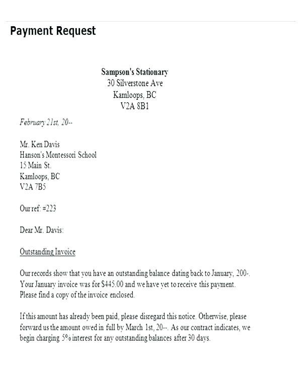 Billing Letter Requesting Payment scrumps