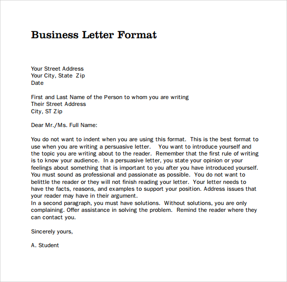 Business Form Letter Format scrumps