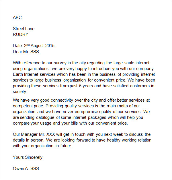Business Introduction Letter Template scrumps