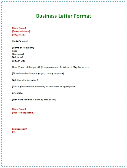 Business Letter Format Examples scrumps