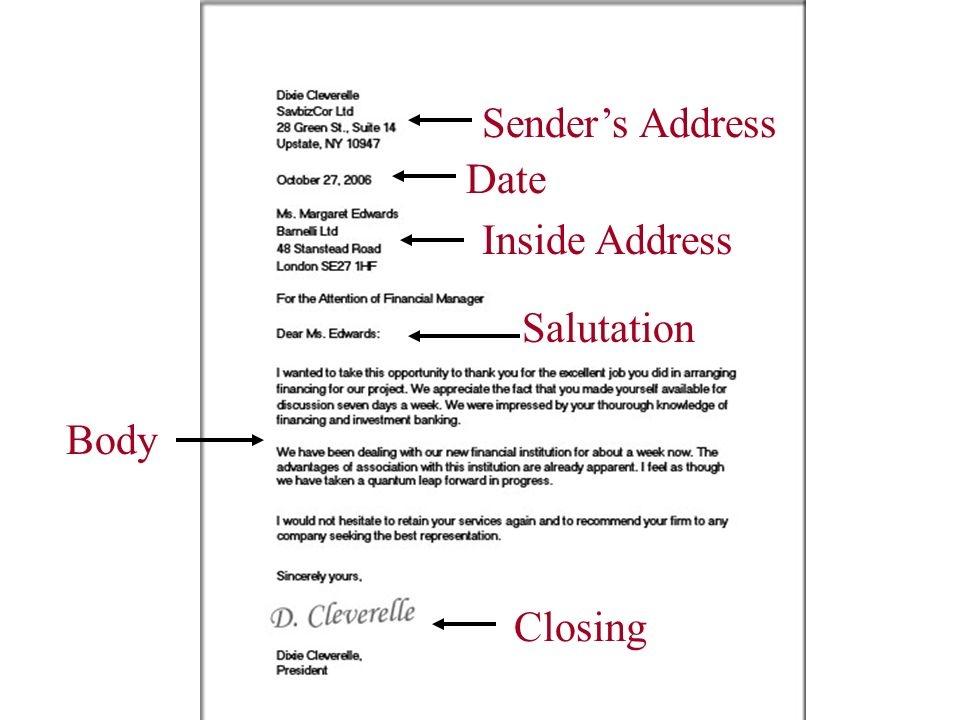 business letter inside address