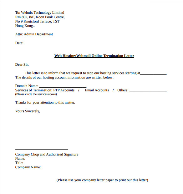 Cancellation Of Services Letter Sample scrumps