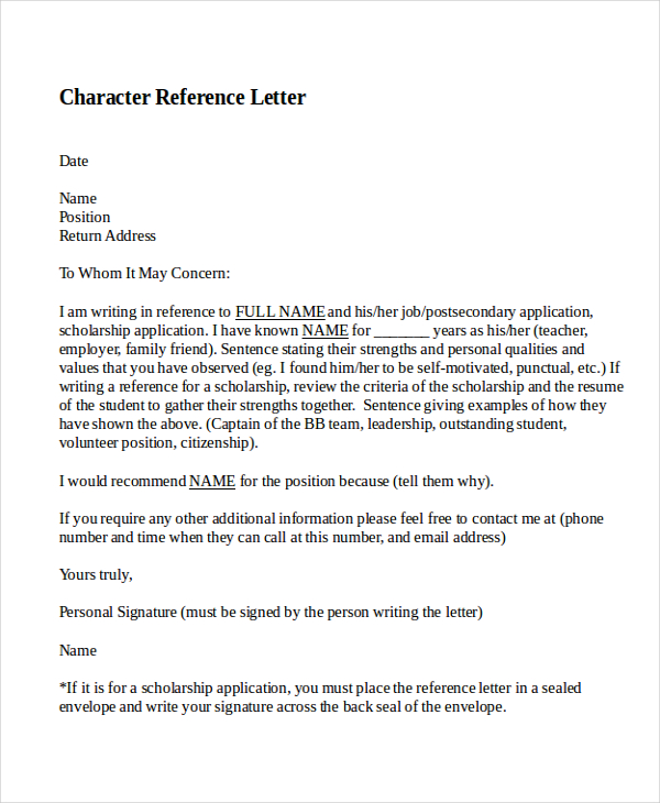 Character Recommendation Letter scrumps