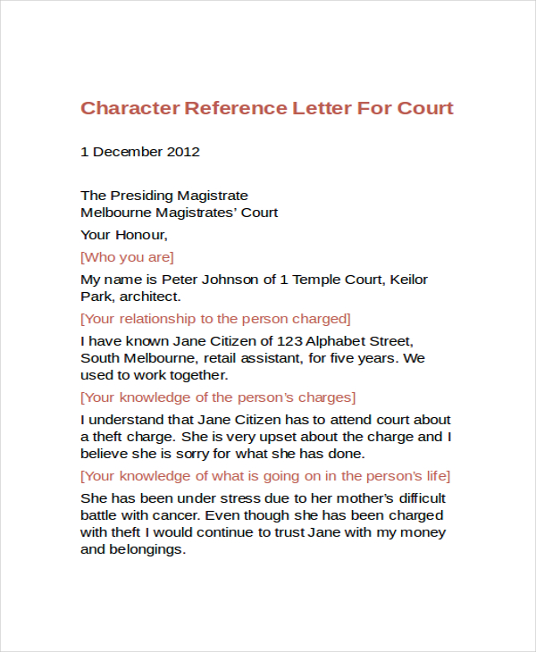Character Reference Letter Sample scrumps