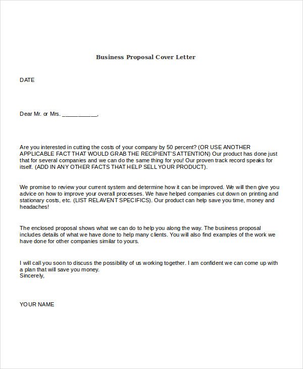 Cover Letter Sales Proposal - Sample Proposal Cover Letter
