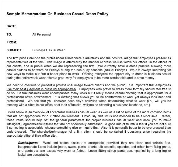 Dress Code Policy Memo scrumps