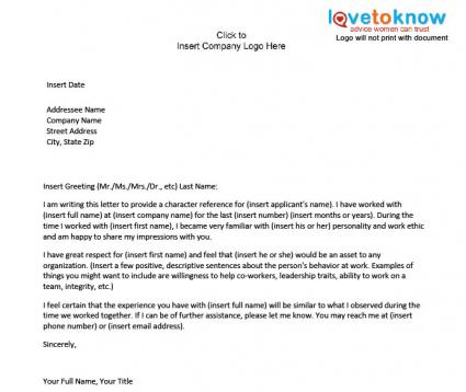 character reference letter for job - Tutlinayodhya