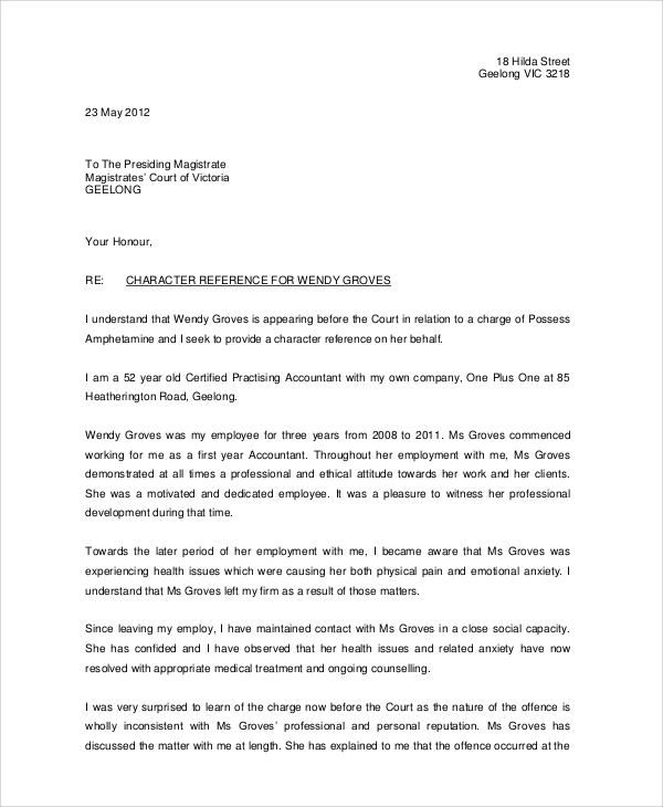 Employment Character Reference Letter scrumps