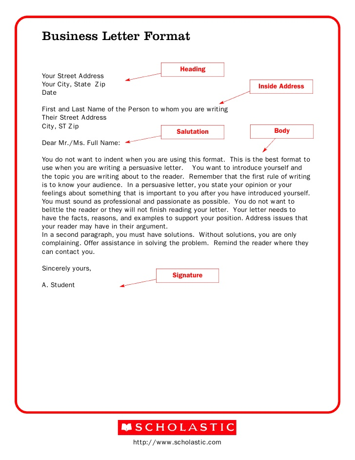 Form For Business Letters scrumps