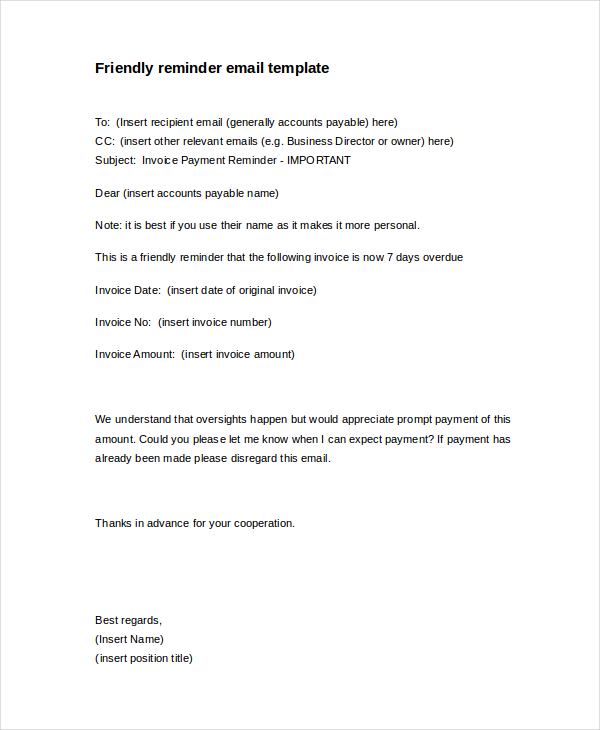 Friendly Payment Reminder Letter Sample scrumps
