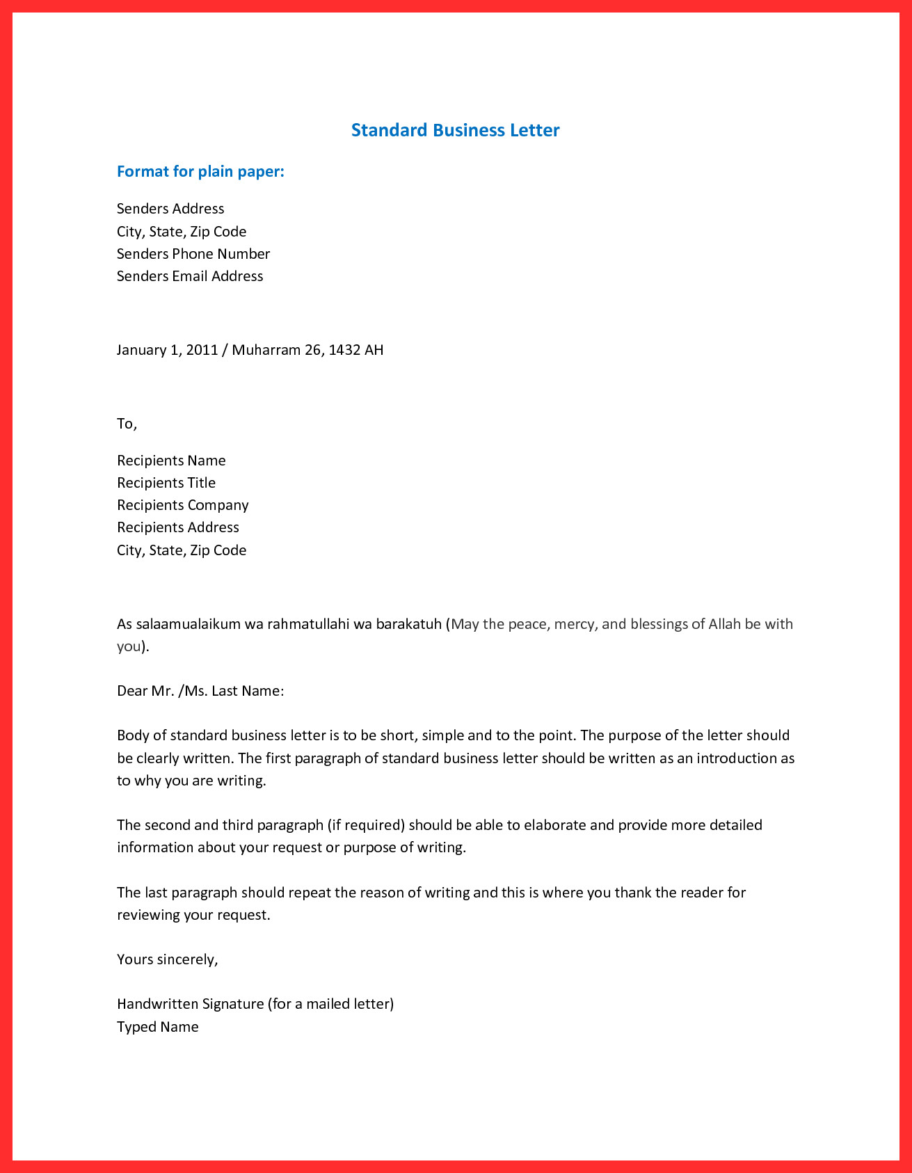 setting up a business letter