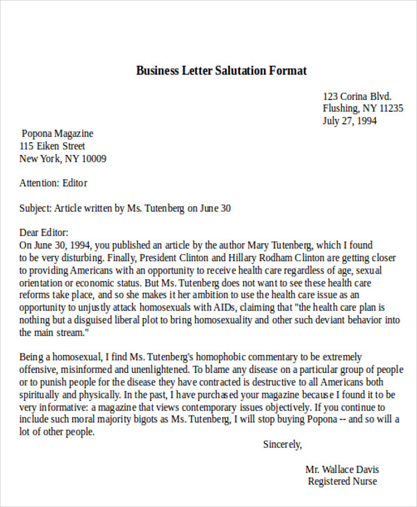 Letter Salutation Examples scrumps