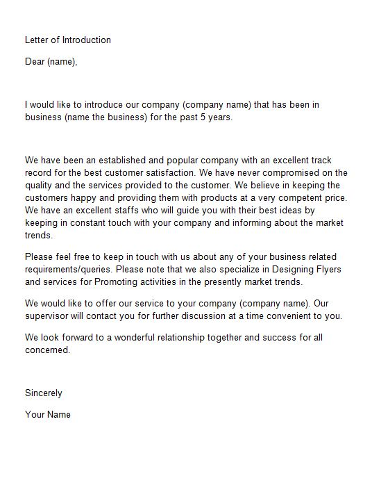 New Business Introduction Letters scrumps