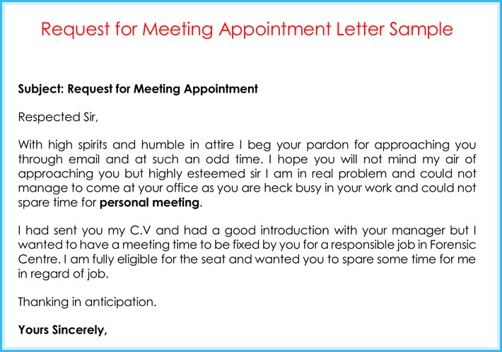 Sample Letter To Request A Meeting With A Manager scrumps