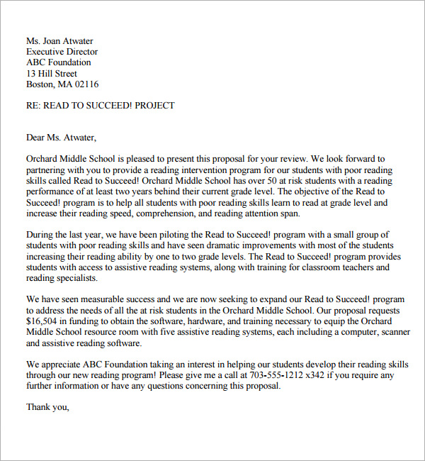Sample Of A Proposal Letter scrumps