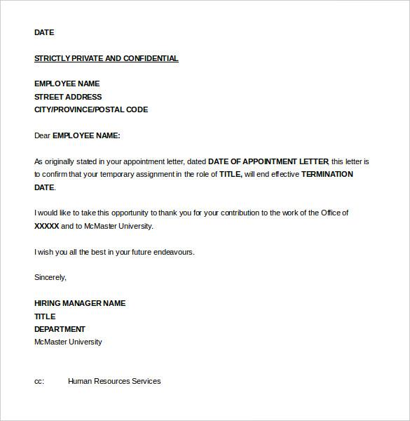 Sample Termination Letter California scrumps