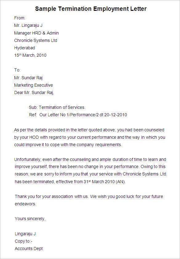 Sample Termination Letter scrumps