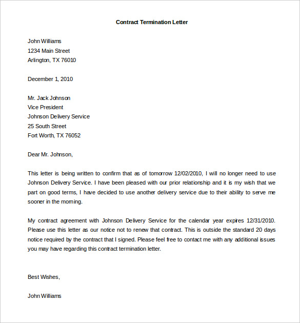 Service Contract Termination Letter Template scrumps