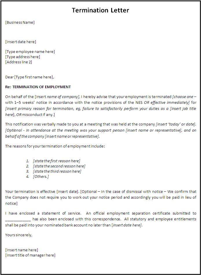 Termination Letter Sample Free scrumps