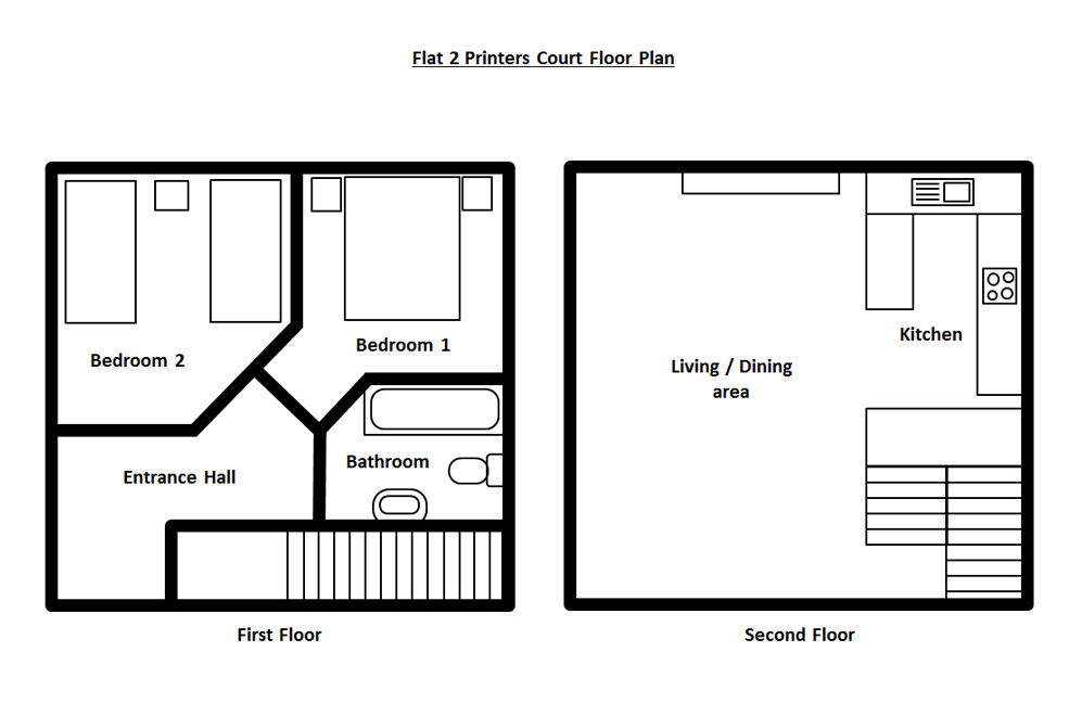 Flat Plan Floorplans Flat 2 Printers Court Dorset Sherborne Cottages