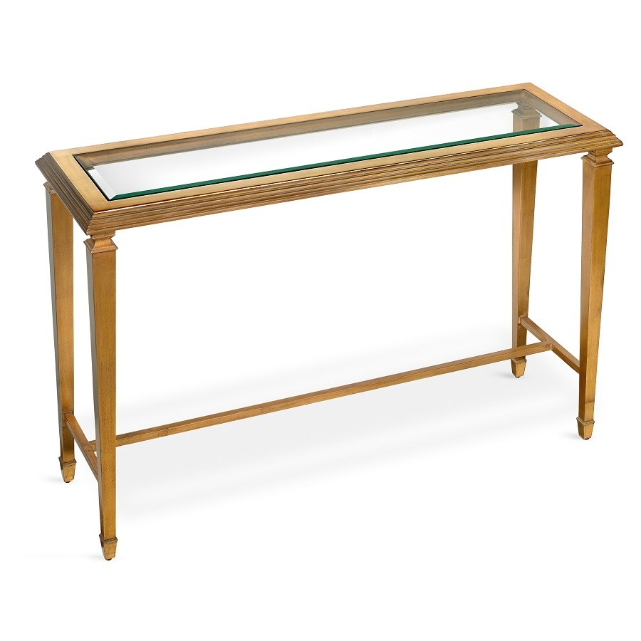 Glass Top Console Table Antique Gold Leaf Console Table With Glass Top