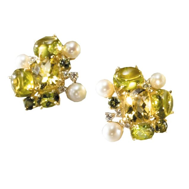 Cluster Earrings with Peridots, Lemon Citrines, Green Tourmalines, Pearls and Diamonds scully and scully