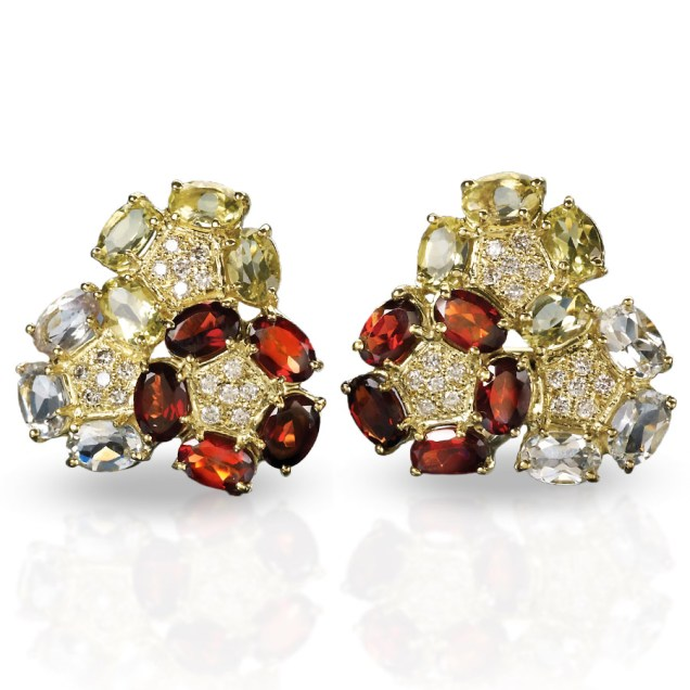 garnet triple circle crown earrings scully and scully
