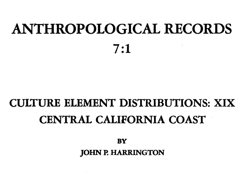 SCVHistory Native Cultures Harrington (1942) Culture