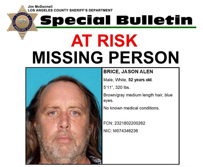 SCVNews Authorities Searching for Jason Brice, At-Risk Missing - missing person flyer